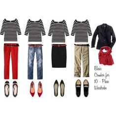 10 - Piece Wardrobe - Striped Shirt --//-- no khaki Capsule Wardrobe, 10 Piece Wardrobe, Wardrobe Basics, Mode Outfits, Casual Outfits, Fashion Outfits, Looks Style, My Style, Pantalon Large
