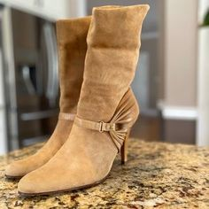 Cole Haan Shoes | Cole Haan Suede Leather Booties Size 85 | Poshmark Shoes Heels Boots, Heeled Boots, Bootie Boots, Leather Booties, Suede Leather, Suede Material, 4 Inch Heels, Cole Haan Shoes, Blossoms
