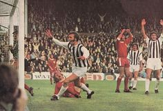 7th August 1971. West Brom centre forward Jeff Astle celebrates scoring against Colchester United in the Watney Cup Final.