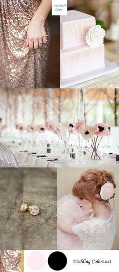 Rose Gold, Blush Pink, Black and Gold Wedding Palette