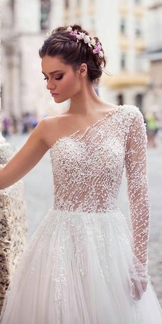 Romantic Bridal Gowns Perfect For Any Love Story ★ See more: https://weddingdressesguide.com/romantic-bridal-gowns/ #bridalgown #weddingdress Couture Wedding Dresses, Sheer Wedding Dress, One Shoulder Wedding Dress, Bridal Dresses, Sheer Dress, Pearl Wedding Dresses, Wedding Dress With Pearls, One Shoulder White Dress, Perfect Wedding Dress