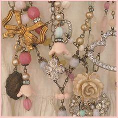 ...♥So Pretty... Vintage Pastel Necklaces From #ANDREA #SINGARELLA