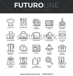 Modern thin line icons set of kitchen utensils, household tools and tableware. Premium quality outline symbol collection. Simple mono linear pictogram pack. Stroke vector logo concept for web graphics