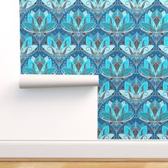 Removable Wallpaper 3ft x 2ft - Art Deco Lotus Teal Turquoise Black Small Print Custom Pre-pasted Wallpaper by Spoonflower