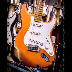 #Fender #CustomShop Heavy #Relic #Stratocaster in candy Tangerine over #sunburst. You may ...