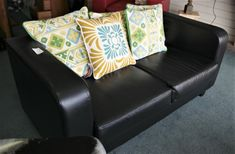 Black Tempa faux leather Sofa, Couch, Chairs, Cushions, Leather, Furniture, Black, Home Decor, Throw Pillows