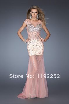 Custom Made Free Shipping Charming Sexy High Neck Tulle Prom Dresses 2014 Floor Length Mermaid Evening Gowns 2014 New Arrival $135.00