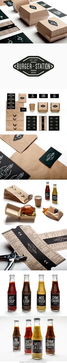 Burger Station packaging by Nueve Estudio. I really like this burger packaging. I like the brown cardboard used to make the container due to it contrasting well with the black of the logos and the writing. Burger Packaging, Food Packaging, Brand Packaging, Packaging Design, Coffee Packaging, Bottle Packaging, Restaurant Branding, Food Branding, White Restaurant