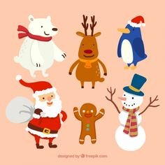 Christmas Characters Vectors, Photos and PSD files Illustration Noel, Winter Illustration, Christmas Illustration, Christmas Drawing, Christmas Art, Christmas Themes, Embossed Paper, Christmas Graphics, Christmas Characters