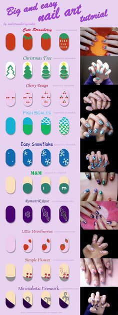 Tutorial of a bunch of simple nail art designs by evilstrawberrycookie from DeviantArt - Big Strawberry, Christmas Tree, Cherries (Cherry), Fish Scales, m, Romantic Rose, Small Strawberry (strawberries), Simple Flower, Minimalistic Firework