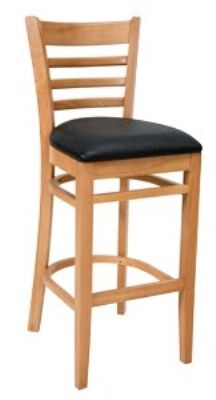 Ladder Back Bar Stool w/ Natural Finish