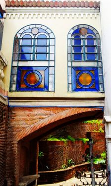 Stained glass windows above a small passage way. Elena Cruz, Immaculate Conception Cathedral, Quezon City, Stained Glass Windows, Mansions, Architecture, House Styles, Photography, Arquitetura