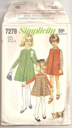 Vintage 1967 Darling Girls Pleated Dress or Jumper Pattern Size 2 Simplicity 7279. $4.50, via Etsy.
