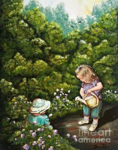 The Little Gardener was inspired by my wonderful granddaughters Ella Bella and Ally Oop. Original painted in acrylics on 16x20 canvas. Is currently for sale