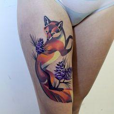 fox tattoo by Sasha Unisex - Design of Tattoos Tattoo Girls, Sexy Tattoos For Girls, Girl Tattoos, Tattoos For Women, Fox Tattoo Meaning, Tattoos With Meaning, 12 Tattoos, Body Art Tattoos, Tatoos