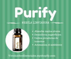 PurifyMezcla purificante Contienen citronela, melaleuca, cilandtro, lima y limón. Purify está diseñado para eliminar los olores y otros contaminantes, de maner