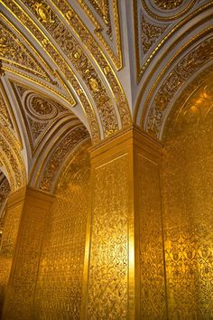 The Gold - Details of the wall at the Gold Drawing-room of Hermitage Museum (Saint Petersburg, Russia).