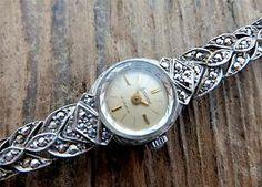 Exquisite dainty antique watch: Art Deco Marcasite/Silver Accurist 21 Jewel Ladies Swiss Dress Watch 1920s; £4.95 on ebay