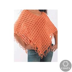 """""""String Poncho"""" Crocheted Ladies' Poncho Pattern by Coats and Clark - FREE Crochet Pattern - Planet Purl"""