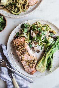 30 Minute Quick Garlic Ginger Salmon Dinner with Bok Choy, Mushrooms & Zucchini