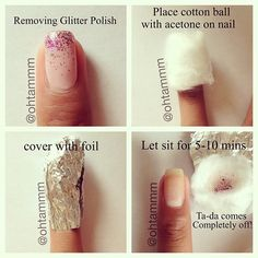 How I remove my glitter nailpolish , works every time