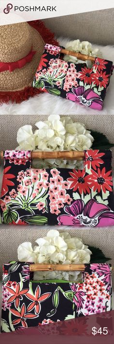"Lilly Pulitzer Vintage Bamboo Handle Clutch Colorful Lilly Pulitzer clutch in a floral pattern of coral, green, peach, red and white with bamboo handles on black background. 100 % cotton, light green lining. 10 1/2"" L x 7 "" H. Used once, pristine condition! Kate Spade straw fringed hat also available from my closet. Lilly Pulitzer Bags Clutches & Wristlets"