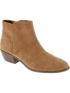 Women's Perforated Faux-Suede Ankle Boots | Old Navy ($36.94)