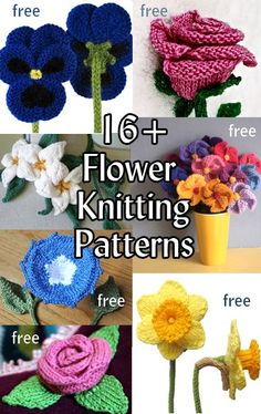 Flower Knitting Patterns, many free knitting patterns at http .Look at these Flower Knitting Patterns, many are free! It might be out of season, or just what a dark corner needs.crochet flowers patterns - This garden of flower knitting patterns can be use Knitted Flowers Free, Crochet Puff Flower, Crochet Flower Patterns, Crochet Flowers, Easy Knitting, Loom Knitting, Knitting Patterns Free, Knit Patterns, Knitting Websites