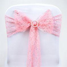 5pc x JOLLY GOOD Lace Chair Sashes - Rose Quartz | eFavorMart
