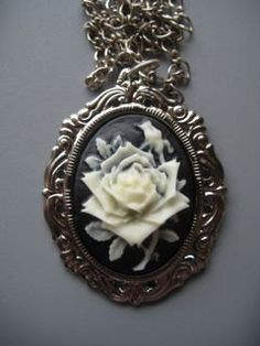 white rose cameo pendant