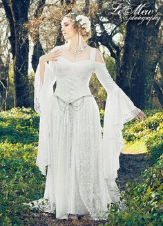Lady Gwen Lace Up Fantasy Fairy Medieval Wedding Velvet and Lace Gown Custom. $525.00, via Etsy.