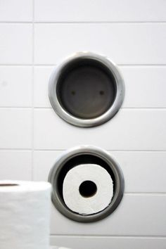 Toilet roll holder for lazy people - Neal Schwartz Hydeaway House Toilet Roll Holder, Remodelista