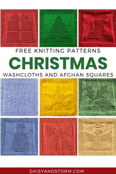 Knitted Squares Pattern, Knitted Dishcloth Patterns Free, Knitting Squares, Knitted Washcloths, Knit Dishcloth, Easy Knitting Patterns, Free Knitting, Crochet Patterns, Knitted Afghans