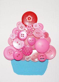 Cupcake button art, great for nursery or kids room #dcbabybuttons #cupcake #cuteasabutton