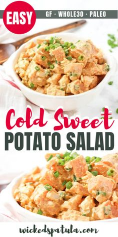 Sweet Potato Salad - This small-batch paleo sweet potato salad is packed full of green onions, eggs, and classic potato salad flavors. Cold Sweet Potato Salad Recipe, Classic Potato Salad, Easy Potato Salad, Paleo Sweet Potato, Salad With Sweet Potato, Easy Whole 30 Recipes, Best Paleo Recipes, Whole Food Recipes, Cooking Recipes
