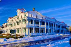 Cape May's Chalfonte Hotel in the snow. Winter, Cape May Point, Ocean City, Jersey Cape, Cape May County, New Jersey