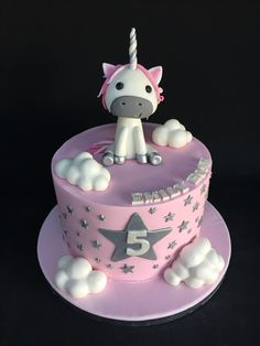 Pink, white and silver unicorn cake