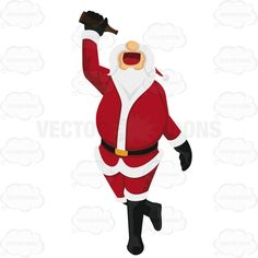 Santa Claus Is Walking While Holding A Bottle Of Beer Above His Mouth Trying To Get The Last Drop Out #adult #bar #beer #bottle #drinking #drunk #santa #Santa-Claus #tipsy