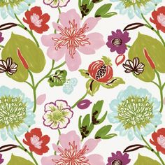 Pink & Purple Whimsical Floral Fabric 18in