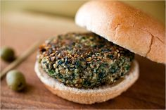 Some of the best veggie burgers we've made. Mushroom, almond, spinach, bulgar wheat