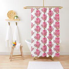 'Beautiful pink lotus flower' Shower Curtain by ErinFCampbell Pink Lotus, Lotus Flower, Flower Shower Curtain, Buttonholes, Curtains, Flowers, Plants, Color, Beautiful