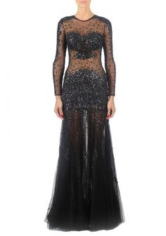 Jovani | Long Black Embellished Dress | Beautiful sheer long sleeve dress, with fully embellished stones through out bodice and sexy sheer cutouts.
