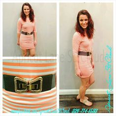 A really cute and fun stripped dress ($48) with a 1/2 sleeve. We threw on a black and gold bow belt ($24) and sandals ($44). This is great for girls night out, bbq's, or a fun filled day of shopping with friends. To add this to your closet, give the girls of Apricot Lane St. Cloud a call at 320-774-1533 or visit and follow us on Facebook. Nationwide shipping is only $6.00! #ApricotLaneStCloud #StCloudMN #summer2014 #stripes #fun #casual #relax
