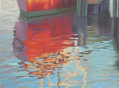 Provincetown Fishing Boat Reflection, painting by artist Nancy Poucher