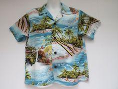 Boys Size 7 Hawaiian Aloha Shirt by RJC Hawaii Blue White | Etsy Hawaiian Wear, Vintage Hawaiian, Vintage Shirts, Vintage Men, School Wear, Aloha Shirt, Monogram Initials, Luau, Men Casual