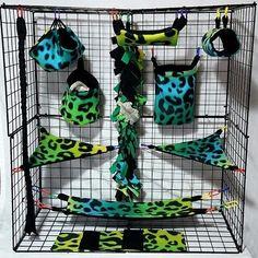 Rainbow Cheetah Green * 15 PC Sugar Glider Cage set * Rat * double layer Fleece | Pet Supplies, Small Animal Supplies, Bedding | eBay!