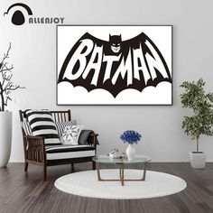 Allenjoy Batman Poster Quotes Black and White Avengers Canvas Paintings Modern Home Living Room Wall Art Pictures Murals Decor