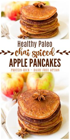 (ad) These healthy Paleo Chai Spiced Apple Pancakes are the perfect protein packed, fall-inspired breakfast. Full of flavor and wholesome ingredients, these pancakes are easy to make and can be made ahead of time and frozen for quick breakfasts. | Recipes to Nourish // Gluten Free | Grain Free | Allergy Friendly | Primal | Dairy Free | Real Food via @recipes2nourish