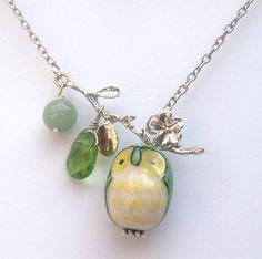 Silver Leaf  Jade Quartz  Porcelain Owl Necklace
