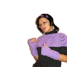 Hand Knitted Purple Warmers Knitted Set of Shoulders by MKrisArt